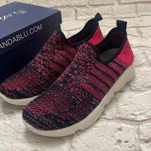Navy blue and pink sparkle sneakers size 7